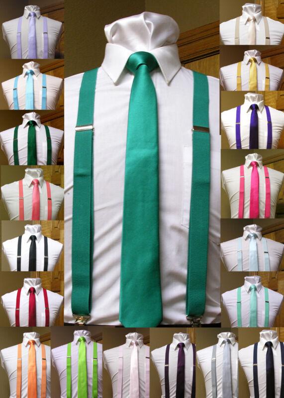 Matching Skinny Tie And Suspenders Set Men