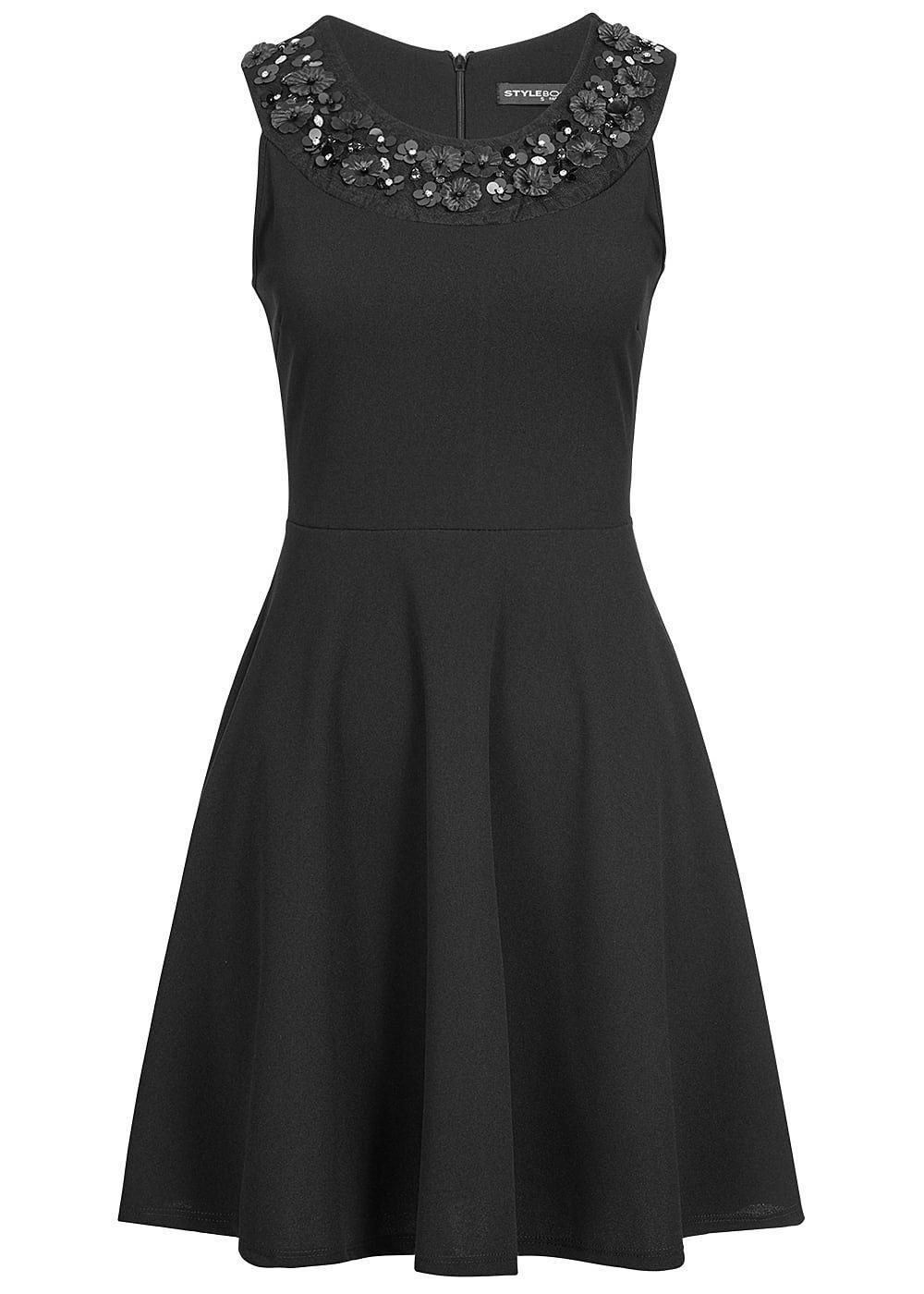 37% OFF B19056321 Damen Violet Kleid kurz mit Spitze & Pailletten Zipper schwarz