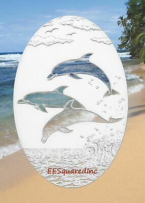 Dolphins Jumping OVAL 21x33 Window Decal Etched Glass Look Tropical Glass Decor