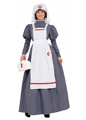 Colonial Halloween Costumes Adults (Civil War Nurse Womens Adult Grey Colonial Halloween)