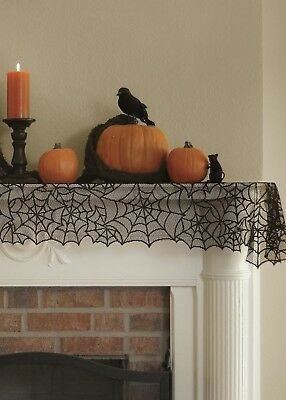 Halloween Mantel Scarves (Black Halloween Lace Table Runner or Mantle Scarf Spider Web 20