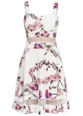 50% OFF B18057564 Damen Violet Kleid kurz geblümt Mesh Detail Brustpads weiß  - Details Damen Kleid