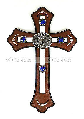 - Western Cowboy Patch Wall Cross Leather Texture Blue Glass Ball Mirror Resin
