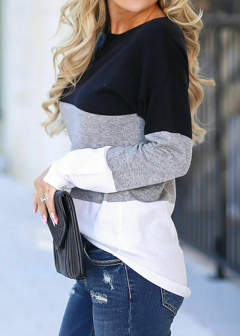 29% OFF B19116886 Damen Violet Pullover Colorblock Sweater Vokuhila schwarz grau