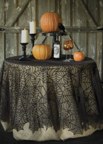 "HW-9000B USA Lace Halloween Black Spider Web Large 90"" Round Table Topper Decor"