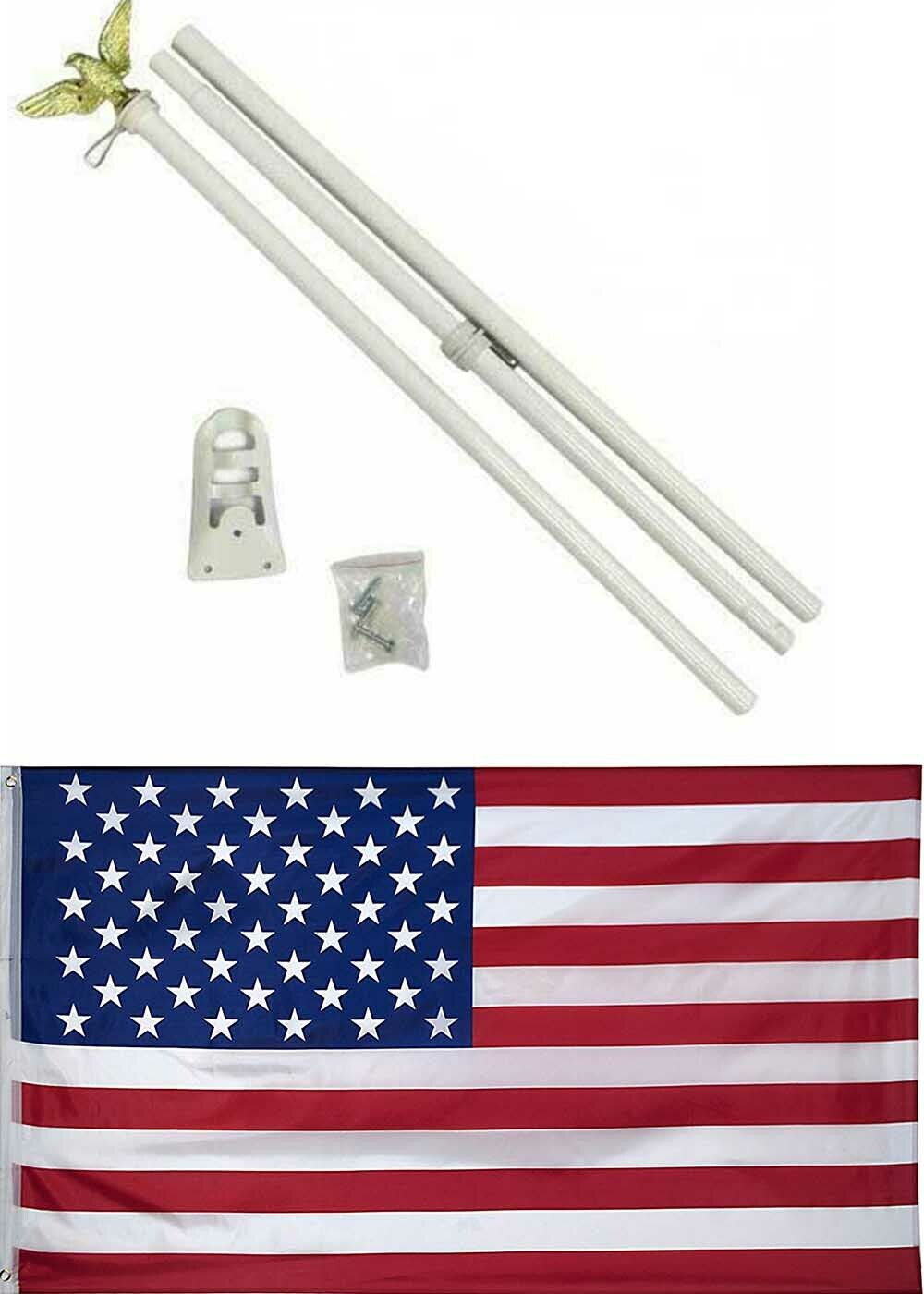 6' Ft Feet Steel Flagpole Flag Pole Kit White Eagle Bracket