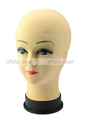 "10.5"" Female Mannequin Bald Head Wigs Hats Sunglasses Scarves Jewelry Display"