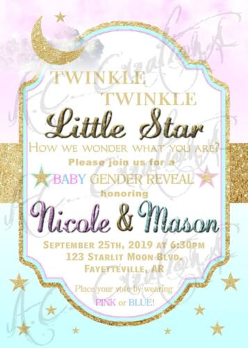 Baby Gender Reveal Party Invitation Unique Design Stars Moon Gold Blue Pink