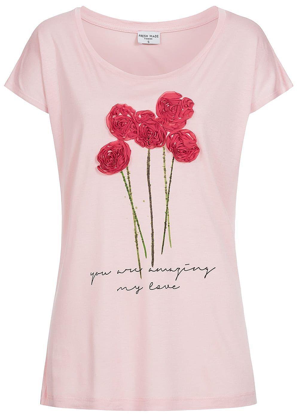 50% OFF B18010135 Damen Eight2Nine T-Shirt Kurzarm Rosen Patch rosa rot grün