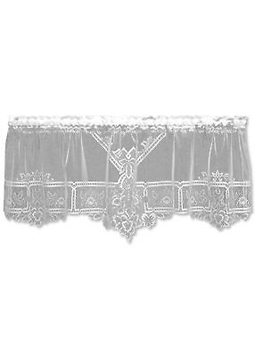 "Window Curtain - Heirloom Sheer Valance in Ecru - Heritage Lace 60"" W x 22""L"