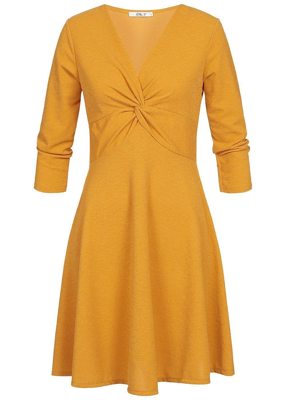 35% OFF B18124127 Damen Hailys Kleid 7/8 Arm mit Bindedetail vorne mustard gelb
