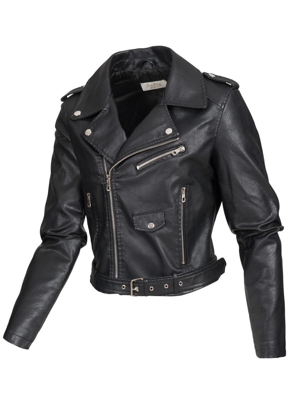 70181107 Damen Softy Outerwear Bikerjacke PU Kunstlederjacke schwarz