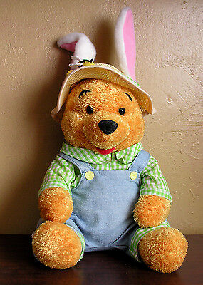 Winnie the Pooh Disney Store with Straw Hat with Bunny Ears Tail Easter Spring