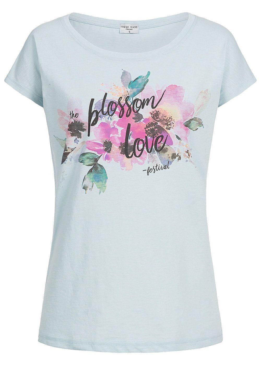 33% OFF B18042588 Damen Eight2Nine T-Shirt Kurzarm Blumen Print hell blau rosa
