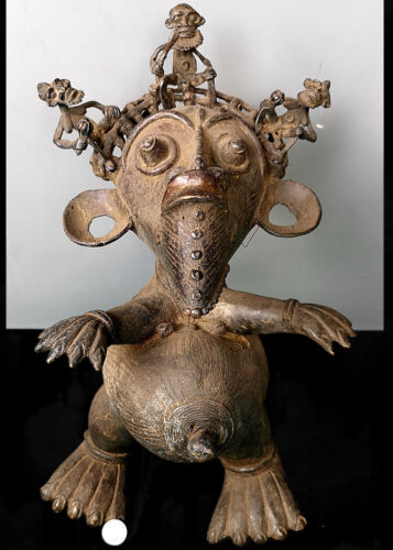 Old Tribal Large Bronze Tikar Maternity Figure    ---  Cameroon AWH