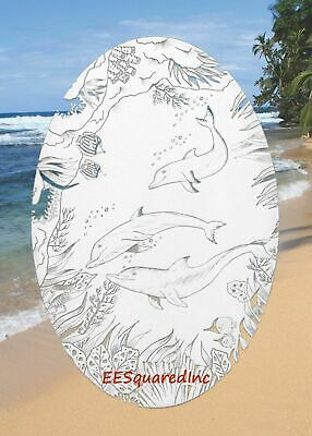 Dolphins Static Cling Window Decal OVAL 10x16 Etched Glass Look Tropical Decor