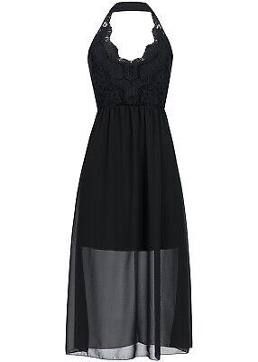 37% OFF B17036148 Damen Violet Kleid Neckholder Häkeleinsatz Brustpads schwarz - Schwarz Neckholder Kleid