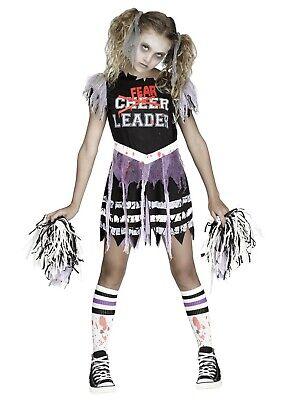 FEARLEADER Zombie Cheerleader Halloween Costume Girls Small 4 5 6 S Child