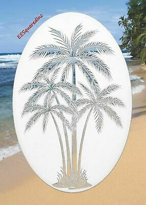 Palm Trees Window Decal 4x6 OVAL Etched Glass Look Static Clings Tropical Decor