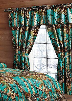 KING SIZE TEAL CAMO COMFORTER WITH CURTAINS!!  6 PC CURTAINS AND COMFORTER ONLY  ()