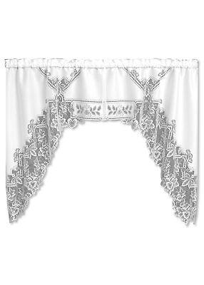 Heirloom Swag - Window Curtain - Heirloom Swag Pair in White - Heritage Lace 70