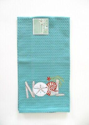 Kay Dee Designs - Christmas Embroidered Waffle Towel - Noel Coastal - NWT