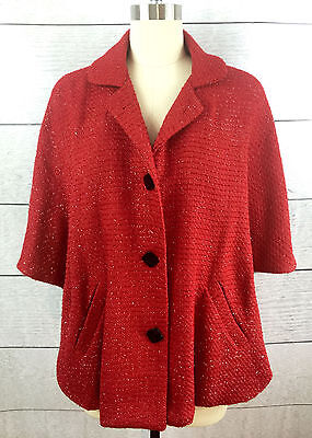 Kate Landry Red Capelet Cape Womens One Size Red Sparkle Jacket (Red Capelet)