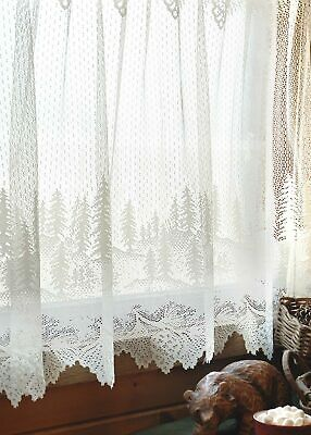"""Heritage Lace Pinecone White Country Scalloped Window Cafe Tier 60""""x30"""""""