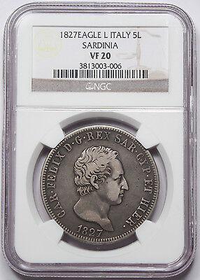 Italy Sardinia 1827 5 LIRE Coin NGC VF20 KM-116.1 Italian States Eagle L Felice