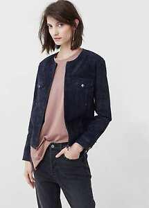 Ladies  real leather suede jacket new mango MNG size M UK 10 Navy