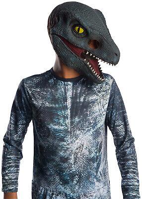 Jurassic World 2 Jungen Kind Velociraptor Blau 3/4 Dinosaurier Maske - Velociraptor Kostüm Blau