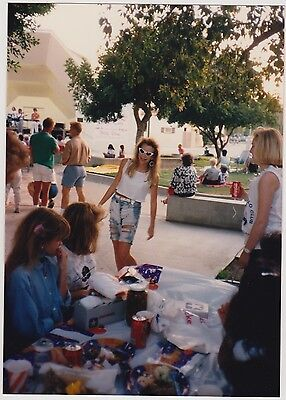Vintage 80s PHOTO Fashionable Young Girl w/ Friends At Picnic Birthday Party