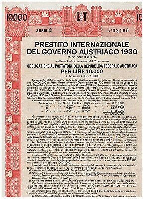 Austrian Government International Loan 1930 Vienna 1930, 10.000 Lire, italian