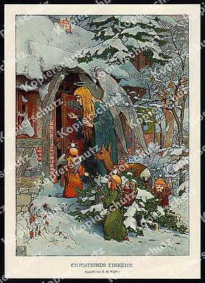 E. H. Walther Christkind Engel Weihnachten Winter Märchen Romantik Idylle 1904!!