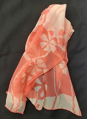 Vintage Scarf Styles -1920s to 1960s Vintage Coral Floral Flower Womens Scarf 14
