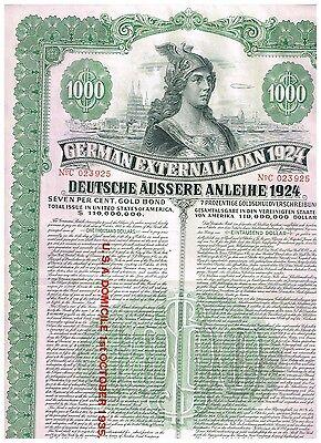 Deutsche Äussere Anleihe 1924 (Dawes-Anleihe), 1000 US$, selten mit Kupons