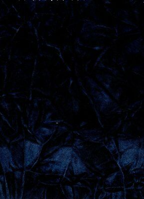 "VELVET CRUSHED FLOCKING  UPHOLSTERY / CURTAIN FABRIC NAVY 58"" BY THE YARD"