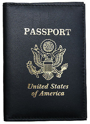 Black Genuine Leather US Passport Cover ID Holder Wallet Travel Case Handmade