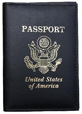 Black Genuine Leather US Passport Cover ID Holder Wallet Travel Case Handmade