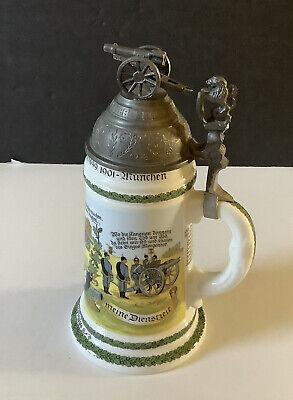 Vintage Big GERMAN Beer Stein w/ Cannon on Lid & Lithopane  Scene Bottom GERMANY