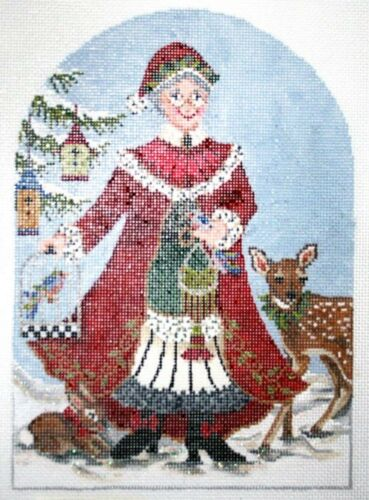 Needlepoint Handpainted KELLY CLARK Christmas Mrs CLAUS 6x9