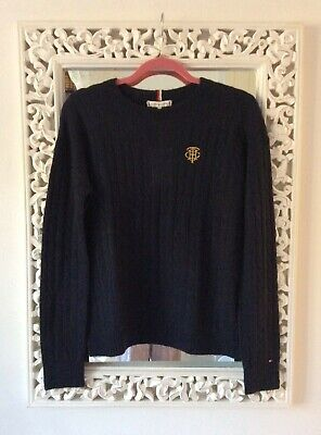 Tommy Hilfiger Blue Cable Knit Alpaca Blend Jumper, Size S UK 8-10 New RRP £120