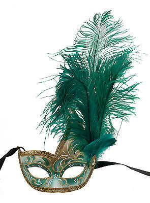 Mask from Venice Colombine in Feathers Ostrich Green Authentic 1437 VG9