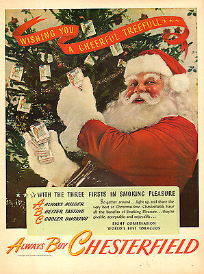 1945 vintage Christmas Ad CHESTERFIELD Cigarettes gifts from Santa Clause 112814 ()