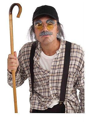 Alter Mann Herren Erwachsener Lustig Großvater Kostüm Zubehör Set