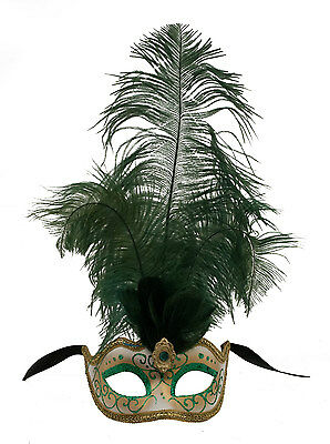Mask from Venice Colombine in Feathers Ostrich Lina Green 1448 VG10