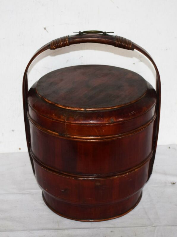 RARE! ANTIQUE TIERED STACKING WOODEN WEDDING BASKETS – CHINESE W/LACQUER