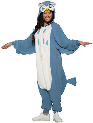 Blaue Eule Erwachsene Pyjama Tier Halloween Reißverschluss Costume-Std