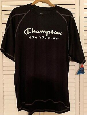 - Champion Men's Athletic T Shirt-Black-Size XL-Polyester-Moisture Wicking-Light