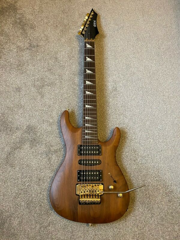 Shine 7 String Electric Guitar Natural Wood Finish